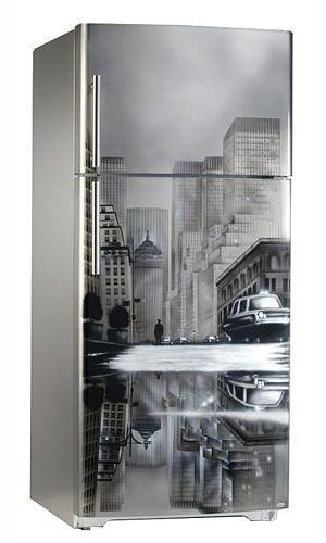 Dessin New York sur réfrigérateur Top Freezer